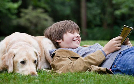 Boy resting on his dog, reading a book